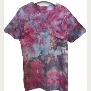 Tie Dye T-Shirt Medium Ice Dye Blue Pink New